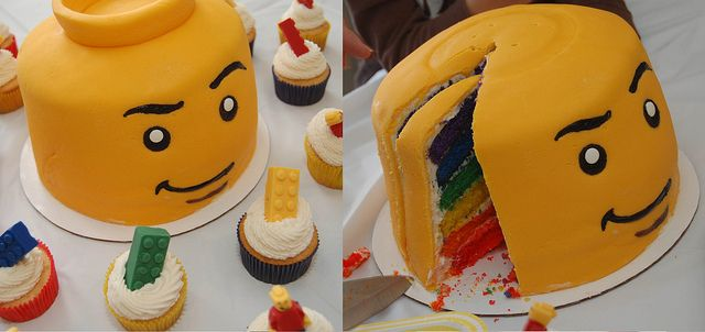 My awesome friend made this for her son's 5th birthday party - Lego Minifig Cake and Cupcakes :)))