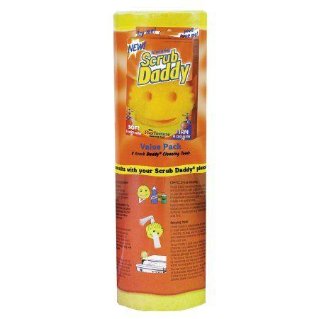 Scrub Daddy Scratch-Free Scrubbing Sponge, 4 1/8 inch Diameter, Yellow, Polymer Foam, 8/Pack, Multicolor