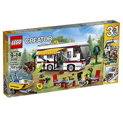 Enjoy travelling adventures with this amazing 3-in-1 LEGO Creator set featuring an awesome camper packed with everything you need for the perfect vacation including a luxurious interior with toilet...