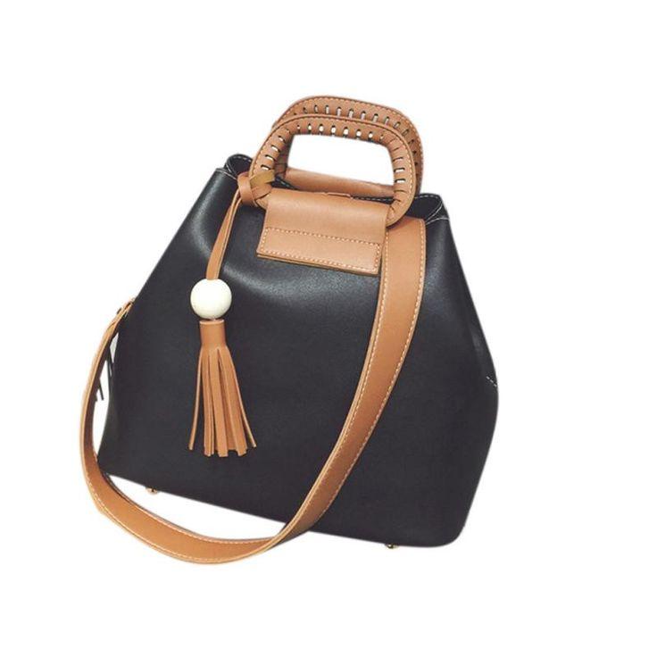 Women Shoulder Bag 2 Colors Patchwork Leather Hasp Tassel Pendant Messenger Bag Girl Vintage Bucket Handbag Bolsas De Couro#9130