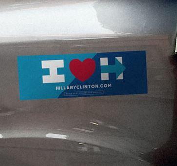 FREE I Love Hillary Bumper Sticker - http://www.guide2free.com/stickers/free-i-love-hillary-bumper-sticker/