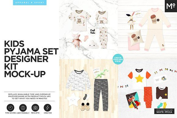 Kids Pyjama Set Designer Kit Mock-up by Mocca2Go/mesmeriseme on @creativemarket