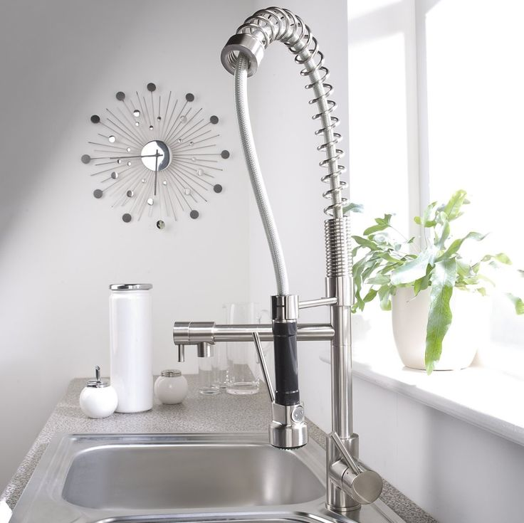 Kitchen:Hudson Reed Brushed Nickel Plated Spring Kitchen Faucet Modern Kitchen  Faucets Brushed Nickel Ultra