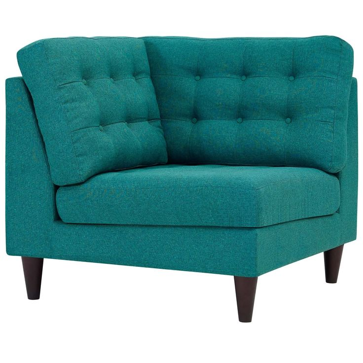 Modway Empress Upholstered Fabric Corner Sofa (Teal), Beige Off-White