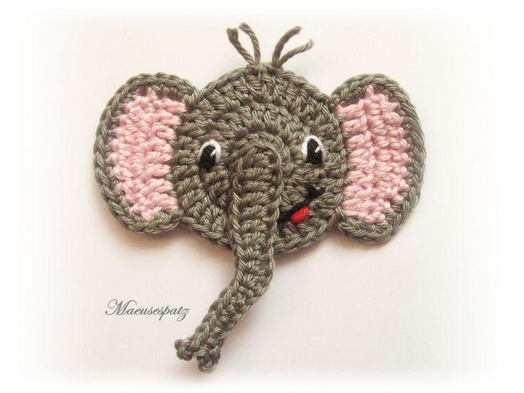 Häkelapplikationen - Elefant Häkelapplikation - ein Designerstück von Maeusespatz bei DaWanda