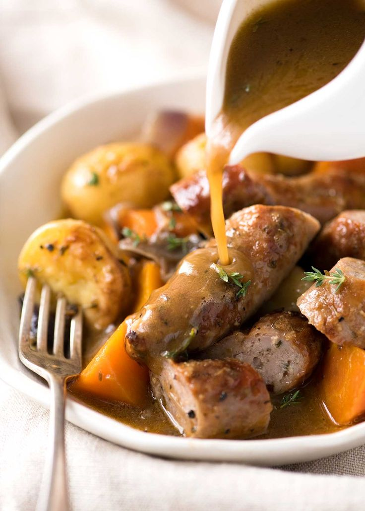 Sausage Bake and Vegetables with Gravy - baked in one pan! www.recipetineats.com