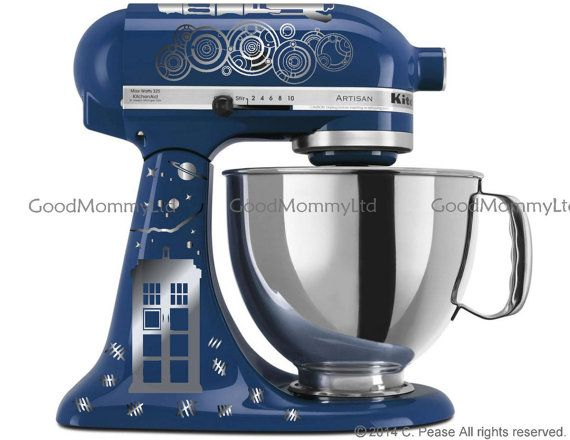 "Dr. WHO Inspired ""Time Lord/Souffle' Girl"" KitchenAid Stand Mixer Decal Kit for Whovian Bakers. With Gallifreyan, Tardis, Sonic Screwdriver"