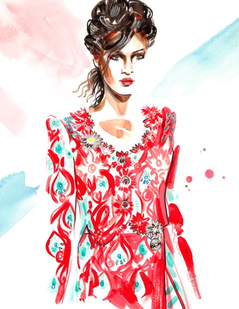 Fashion illustrator Meagan Morrison sketches the best runway fashion from Fashion Week Spring 2016. See them all here: