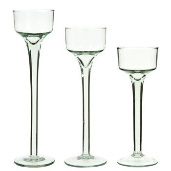 "Striking long-stem candleholders are an elegant choice for scattering candlelight at any event! 2-1/8"" round glass cups sit atop slender stems and are the perfect size for holding tealights, plus"
