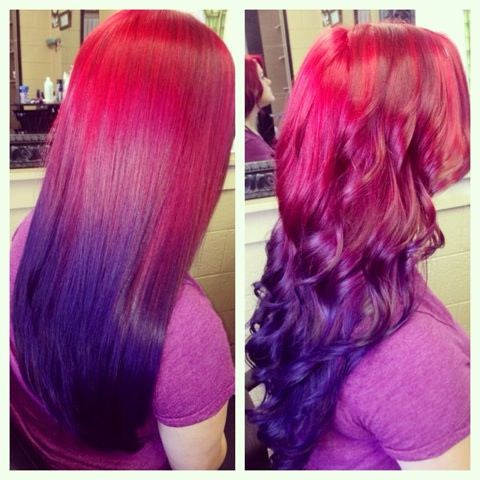 kaylee 39 s red to violet ombre hairs make ups. Black Bedroom Furniture Sets. Home Design Ideas