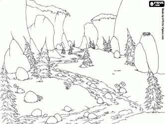 design of mountain river that flows through the meadow and forest coloring - Mountain Landscape Coloring Pages