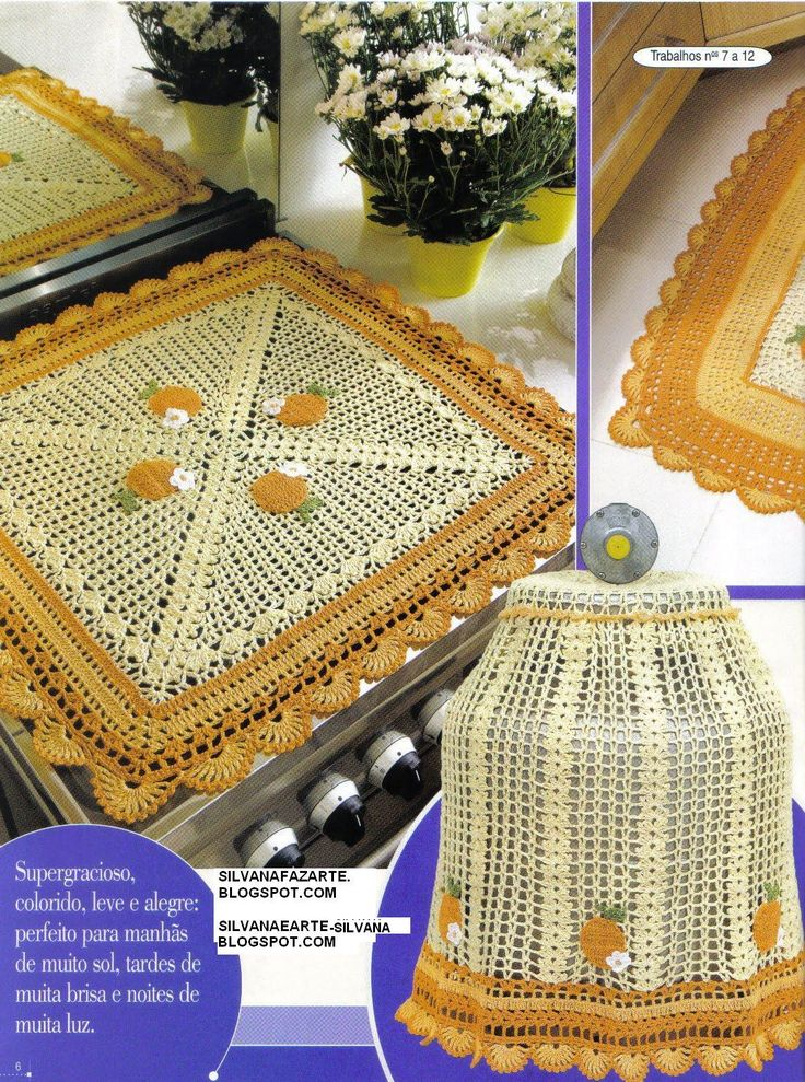 As Receitas de Crochê: JOGO DE COZINHA AMARELO EM CROCHE ❤️LCK-MRS❤️ with diagram.                                                                                                                                                      Mais