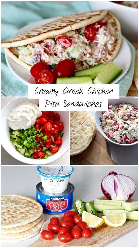 Creamy Greek Chicken Pita Sandwiches
