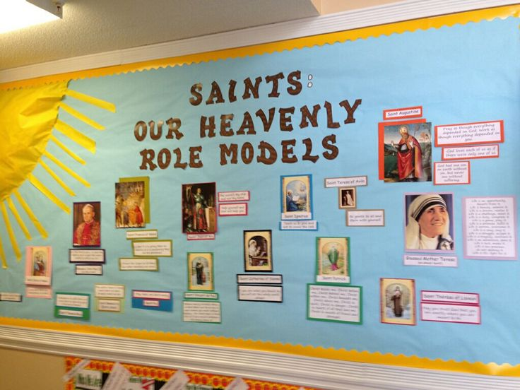 Bulletin board for holy Catholic Saints