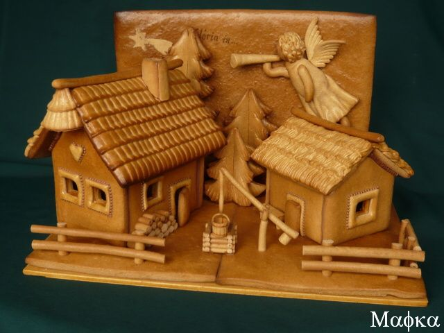 Unusual gingerbread houses all in one tone
