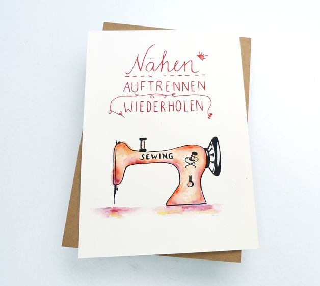 Poster mit Spruch, Nähen Poster, Kunstdruck, Wohndeko, Wandgestaltung, Dekoartikel für Zuhause / poster with funny saying, sewing poster, art print, home decor, wall decor made by sonuranders via DaWanda.com