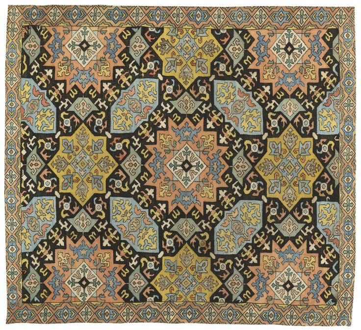 An Azerbaijan silk embroidery, South Caucasus, worked in cross-stitch and stem stitch, mid-18th century
