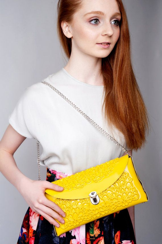 PVC clutch bag yellow clutch purse durable clutch by MeDusaBrand