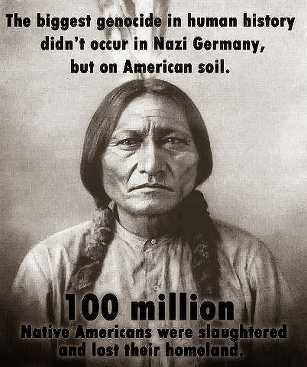 This is a propaganda poster of a Native American man claiming that 100 million of his people were slaughtered on their homeland by European colonizers. This picture reminds us that the Native Americans were almost completely killed off on their own land. I chose this pin because the same thing is happening to my people in Palestine and Gaza right now. It is important for us to remember events like this so that we do not make the same mistake again.