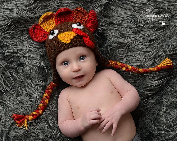 Turkey Hat- Newborn Thanksgiving Hat/ Crochet Turkey Hat on Etsy, $24.00