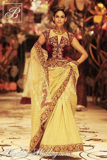Rohit Bal saree with designer velvet blouse
