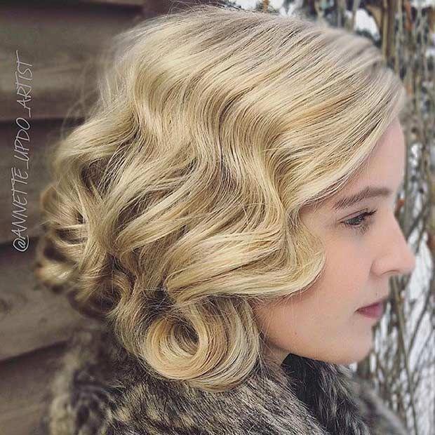 Vintage-Frisur für Bräute mit mittlerer Länge ….