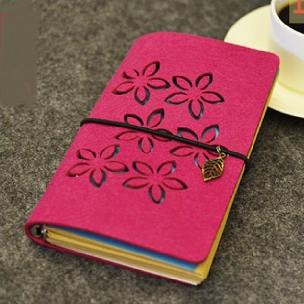 """Red Petals"" Fabric Cover Cute Diary Blank Kraft <b>Paper</b> Planner ..."