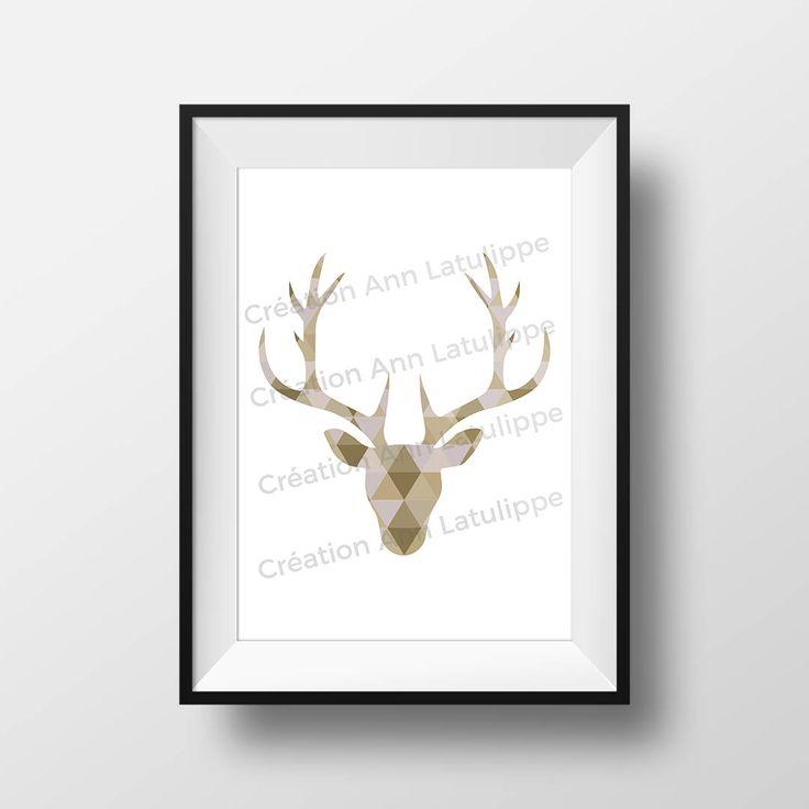 Affiche imprimable Tête de chevreuil géomtrique 8x10, Deer head printable poster, wall art decoration à imprimer