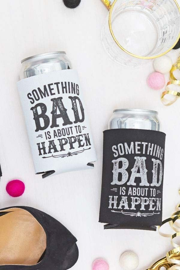 Adorable Something Bad is About to Happen Bachelorette party bride koozies! Fun bachelorette party accessories.