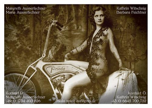 Calling-card design for Frieda, an all-female Austro-German vintage band
