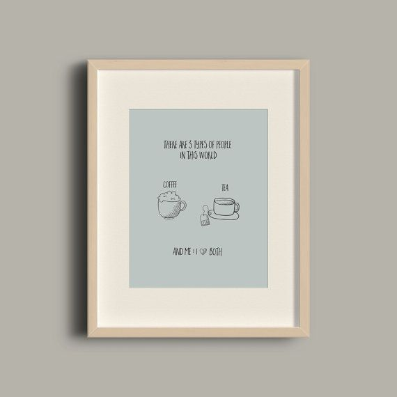 Coffee and tea creative wall art print / printable by ATalkingWall
