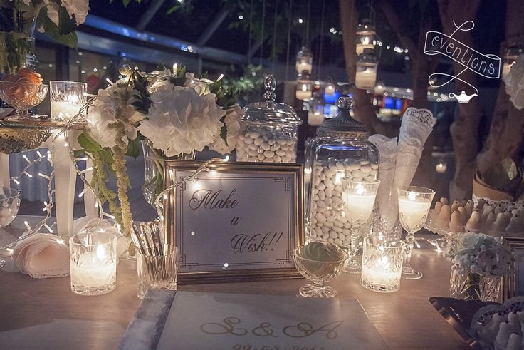 Custom made wish book and desserts table installation for a luxury wedding in Rhodes (collaboration with the12events)