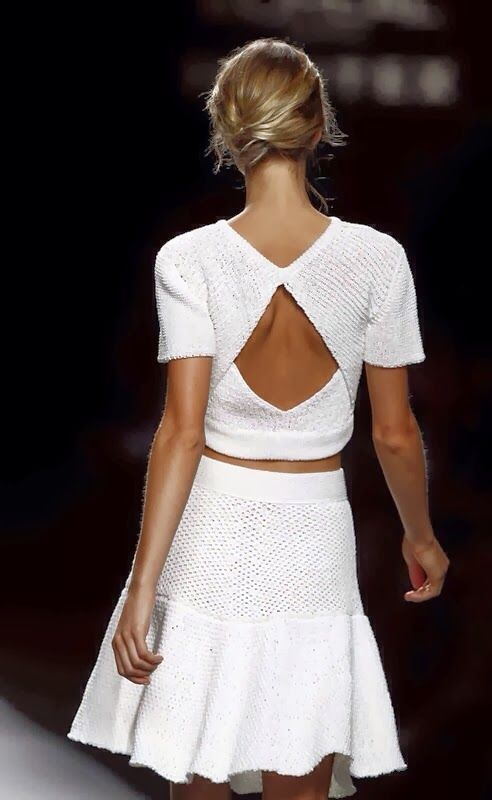 Matching white knit top and skirt