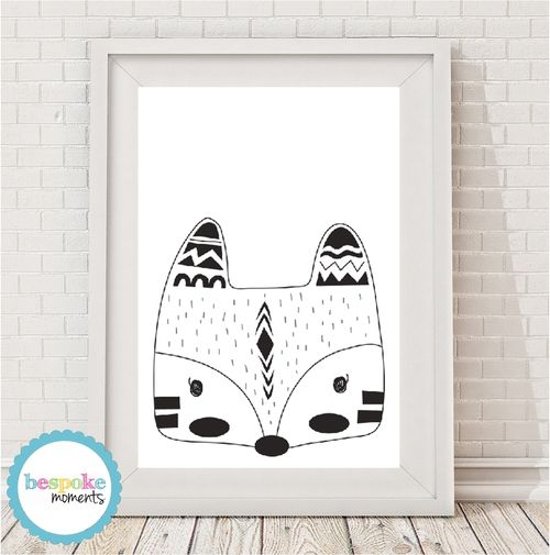 Monochrome Tribal Fox Print by Bespoke Moments. Worldwide Shipping Available.