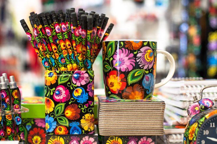 ołówek, folk, kubek, podkładki, folkstar, folklor, design, łowicz, etno, na ludowo, ludowe
