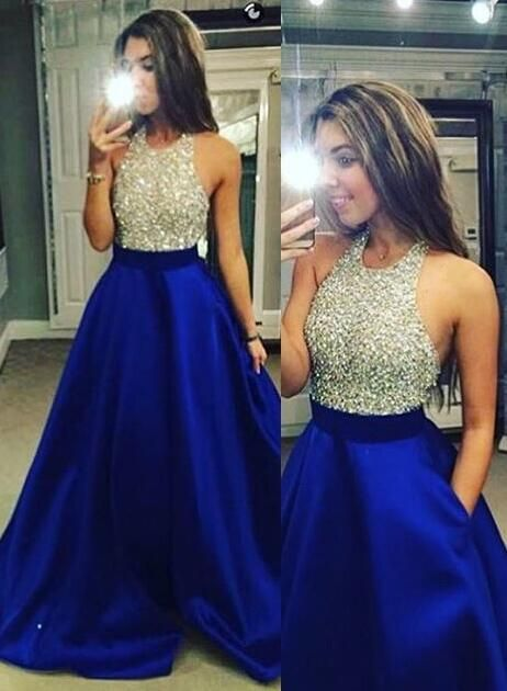 Prom Dresses Long, Blue Prom Dresses, Charming Ball Gown A-Line Crew Neck Floor Length Royal Blue Prom/Evening Dress with Beading