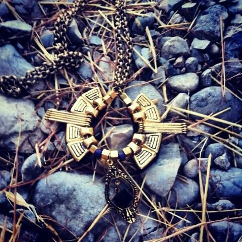 long gold metal necklace