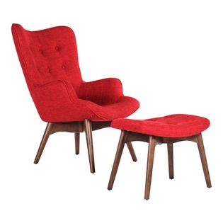 #N/A - The Teddy Bear Chair with Ottoman - Red - The Teddy Bear Chair with ottoman - Red. The Teddy Bear Chair and Ottoman is perfectly named due to its huggability and comfortable design, upholstered in wool. This armchair is ideal for a snug sitting area or funky reception area.