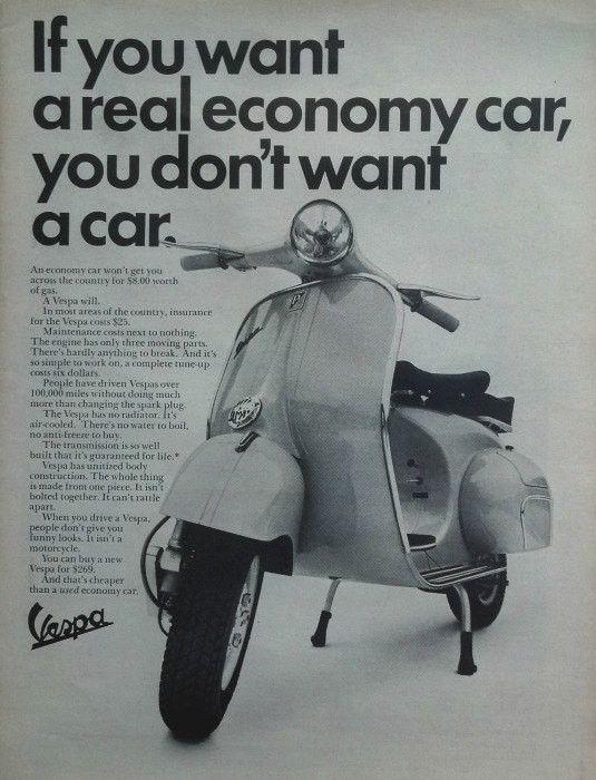 "1964 Vespa Scooter Ad ""Economy"""