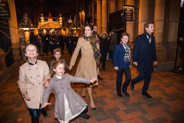 1 December 2016 - The Danish Royal Family attends the premiere of the ballet 'The Nutcracker' at Tivoli Concert Hall in Copenhagen - coat by Oscar De La Renta, shows by Valentino
