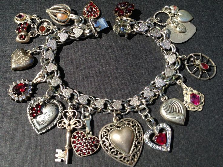 Vintage Charm Bracelet Collection - I Love You Ruby Hearts Silver & Enamel Charm Bracelet