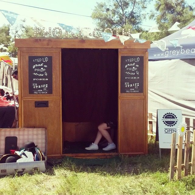Rocking the Daisies Music Festival 2014 Photo Booth in action in Darling, South Africa #photobooth #photo #booth #vintage #festival #props #wooden photo booth #vintage photo booth #outdoor photo booth