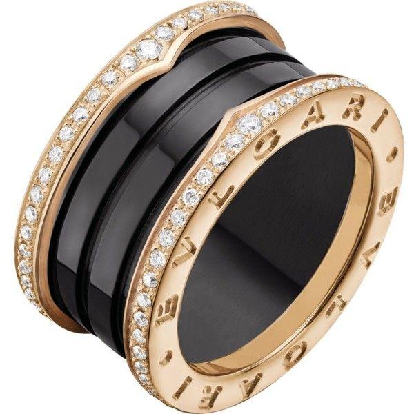bvlgari bzero1 fourband 18ct pinkgold black ceramic and diamond