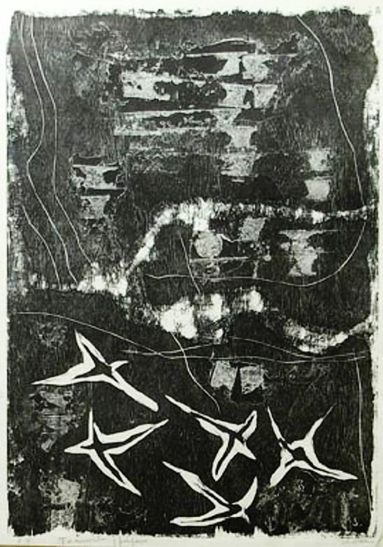 Tormenta y pájaro (grabado) Luis Seoane