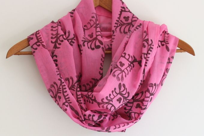 Hand block printed black design on bright pink Indian cotton scarf/shawl by Kerry Cherry Designs and Prints on hellopretty.co.za