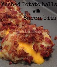 Loaded Mashed Potato Balls with Bacon Bits recipe. OMG these are so easy to make and totally delicious!! I'll definitely be making these again, and soon!