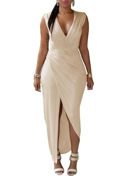 Alluring V Neck Asymmetrical Hems Plain High Slit Plus-size-bodycon-dress Plus Size Bodycon Dresses from fashionmia.com