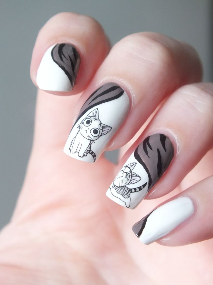 nail-art-chi-une-vie-de-chat-manga-cat-manucure-top-coat-ciate-white-on-white-china-glaze-water-decals-bornprettystore-neejolie-liner-2b-cosmetics-stormy-revlon (2)