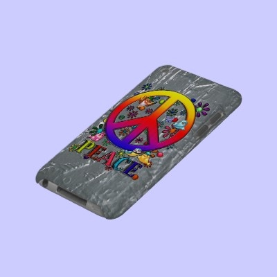 $41.95 iPod Touch Cover Modern Retro Peace Sign Text Birds & Flowers II  The Word Peace, Modern Retro Vibrantly Colored Rainbow Gradient Faux 3-D Peace Sign, Birds & A Blue & Lavender Butterfly Colorful Floral Design. Done as traditional artwork, then completed & given faux metallic textures, using Adobe Photoshop CS2. Optional, Customizable Abstract Faux Thick Silver Paint Background Art.