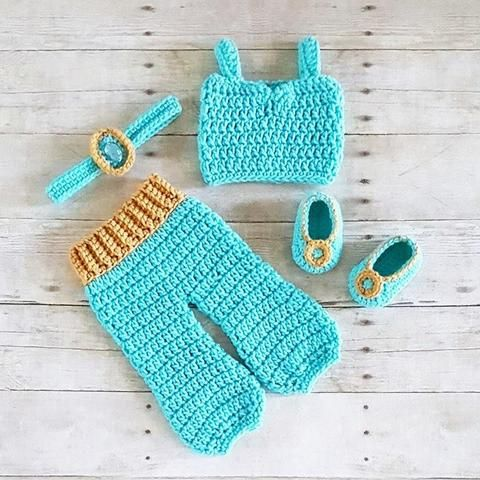 Crochet Baby Princess Jasmine Pants Top Shirt Headband Shoes Set Newborn Infant Baby Handmade Costume Dress Up Photography Photo Prop Baby Shower Gift Present